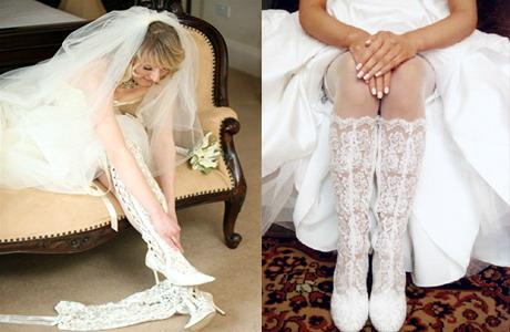 весільні мереживні чобітки